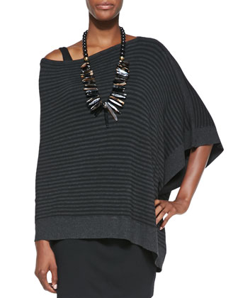 Cozy Striped Off-the-Shoulder Poncho, Women's