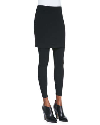Skirted Ankle Leggings, Petite