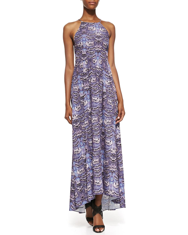 Womens Ibis Print Halter Long Dress   Tibi   Indigo multi (12)