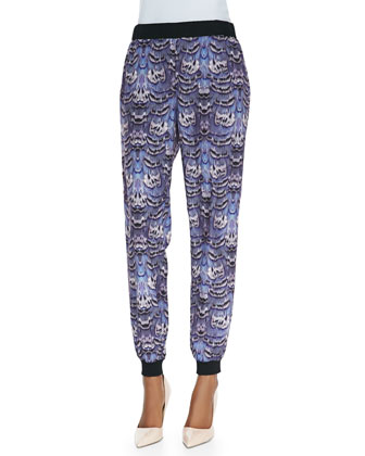 Silk Ruffled Cami & Ibis-Print Jogging Pants