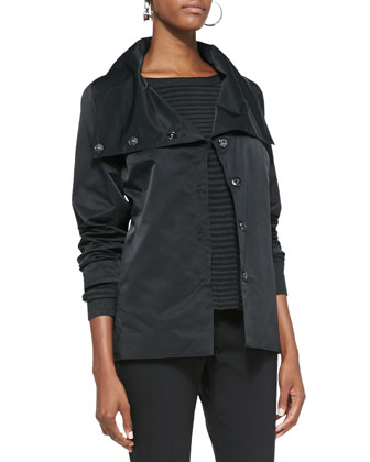 Asymmetric Shaped Snap-Front Jacket