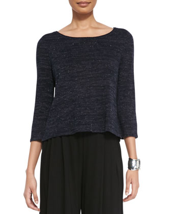 Twisted Speckle Box Top, Midnight