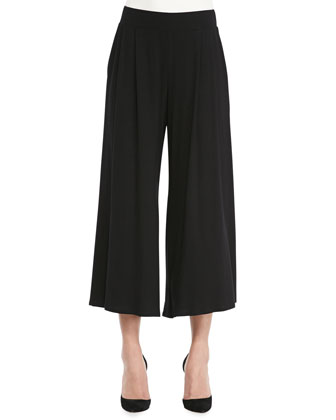Wide-Leg Cropped Jersey Pants, Black