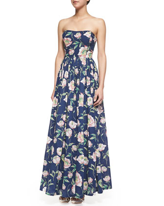 Spring Bloom Strapless Floral-Print Maxi Dress, Prince Blue