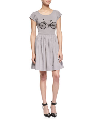 Summer Steel Bicycle Jersey Fit-And-Flare Dress, Light Gray