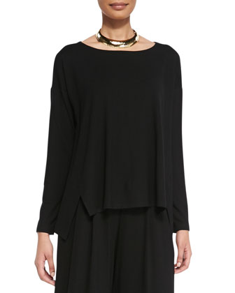 Wide-Neck Jersey Box Top, Petite
