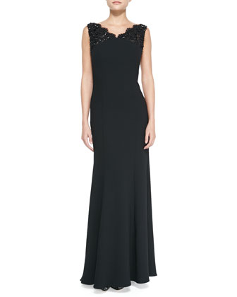 Crepe Gown with Beaded Lace