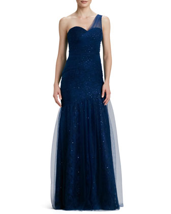 One-Shoulder Gown with Sequined Tulle