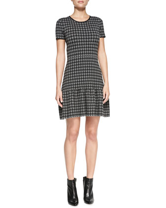 Jenny Short-Sleeve Houndstooth Dress