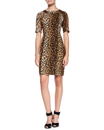 Lainey Half-Sleeve Leopard-Print Sheath Dress