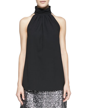 Kristen Sleeveless Funnel-Neck Top