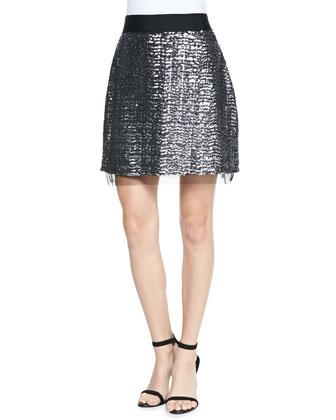 Gail Sequin Tulle-Hem Miniskirt