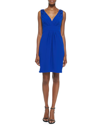 Embellished V-Neck Cocktail Dress, Lapis