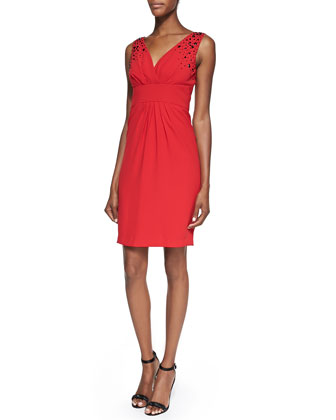Embellished V-Neck Cocktail Dress, Rouge