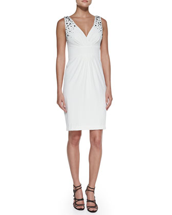 Embellished V-Neck Cocktail Dress, Pearl