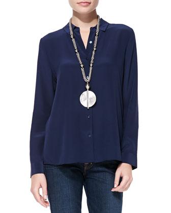 Silk Long-Sleeve Blouse, Petite