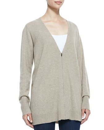 V-Neck Zip-Front Cashmere Cardigan, Almond