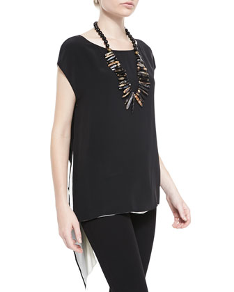 Sleeveless Silk Two-Tone Top, Petite
