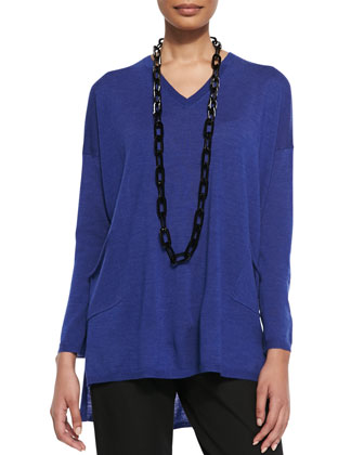 V-Neck Merino Box Top with Pockets, Petite