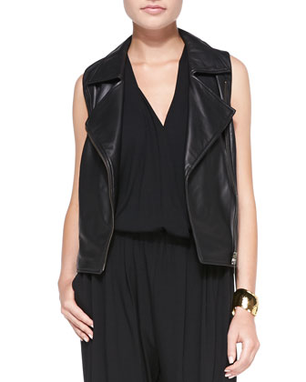 Asymmetric Lambskin Leather Moto Vest & V-Neck Sleeveless Jumpsuit