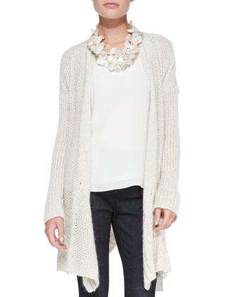 Cascading Open-Front Cardigan, Scoop-Neck T-Back Silk Tank & Organic ...