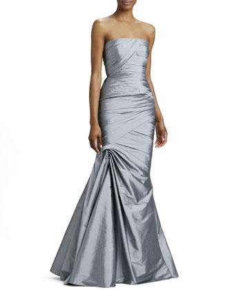 Strapless Trumpet Gown, Platinum