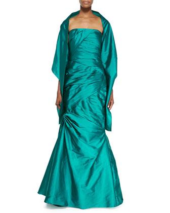 Strapless Trumpet Gown, Mallard