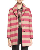 Button-Front Striped Wool Blanket Coat