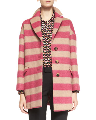 Button-Front Striped Wool Blanket Coat, Long-Sleeve Little Birds-Print ...