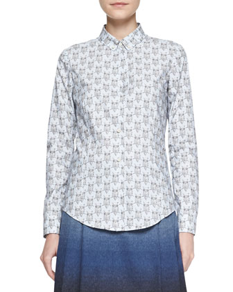 Owl-Print Cotton Poplin Blouse