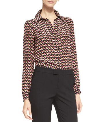 Long-Sleeve Little Birds-Print Blouse