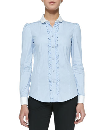 Striped Stretch Poplin Blouse with Ruffles, Blue