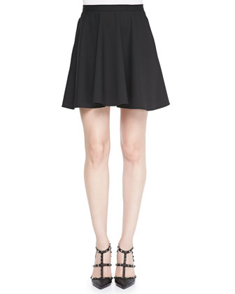 Techno Cady Circle Skirt, Black
