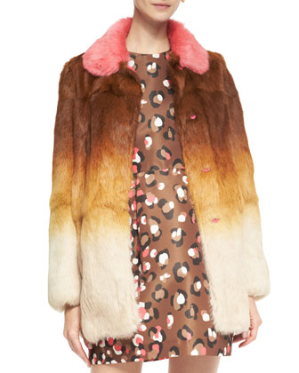 Ombre Fur Coat with Colorblock Collar