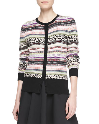 Animal & Fair Isle Striped Cardigan, Multi