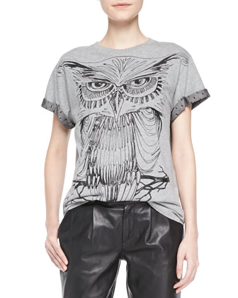 Cotton Jersey Owl Tee