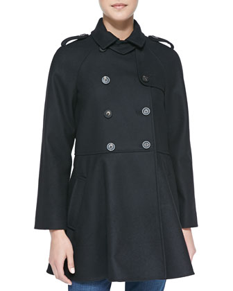 Double-Breasted Flounce Trench Coat
