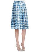 Plisse Pleated Scribbled Heart-Print Skirt