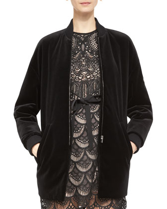 Long Stretch-Velvet Bomber Jacket & Sleeveless Macram?? Owl Dress