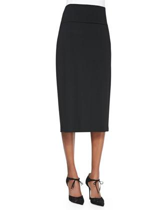V-Neck Long Boxy Cardigan, Scoopneck Jersey Cami & Knee-Length Jersey Skirt