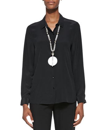 Long-Sleeve Silk Button-Front Blouse, Black, Petite