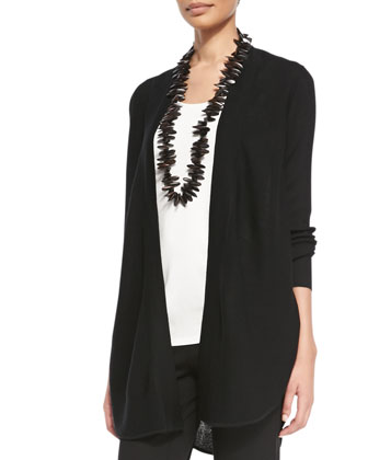 Fine Merino Links Cardigan, Black, Petite