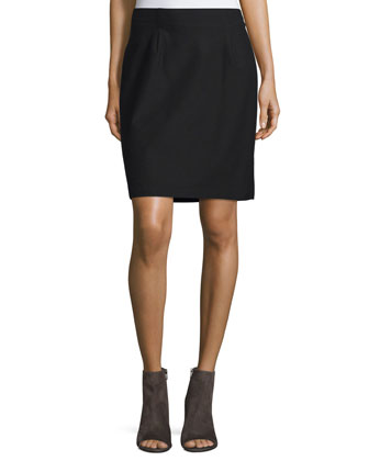 Sleeveless Jersey Tee & Washable Stretch Crepe Pencil Skirt
