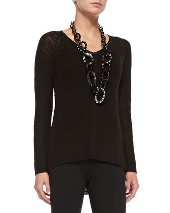 Classic Slub-Knit V-Neck Tunic, Coffee, Petite