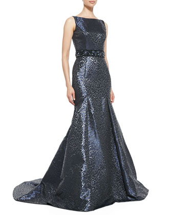 Sleeveless Beaded-Waist Mermaid Gown