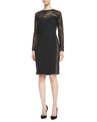Long-Sleeve Lace Illusion Cocktail Dress