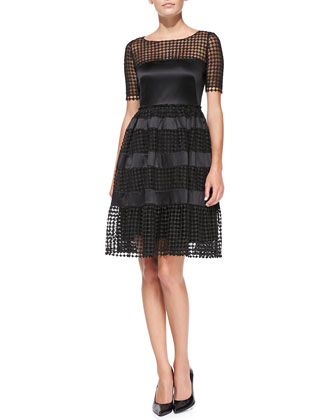 Short-Sleeve Net-Overlay Cocktail Dress