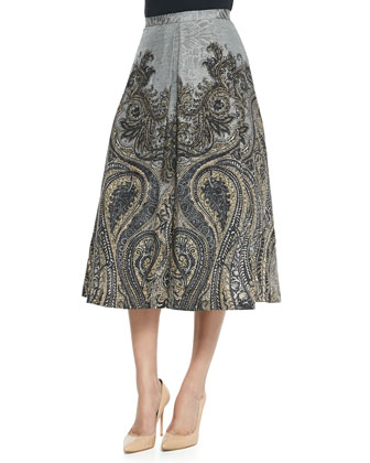 Embellished Crewneck Sweater & Flared Paisley-Print Skirt