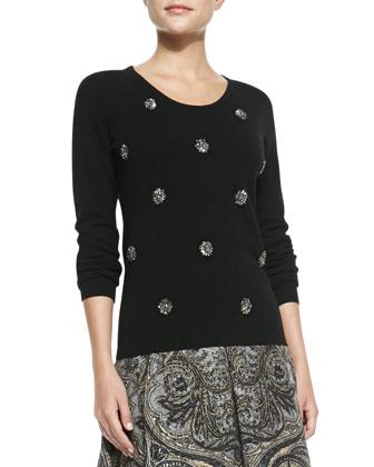 Embellished Crewneck Sweater & Flared Paisley-Print Skirt