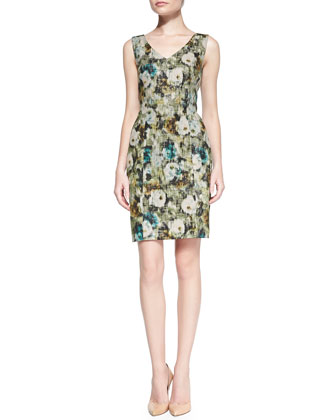 Long-Sleeve Crisscross Floral Bolero & Sleeveless Floral Sheath Dress